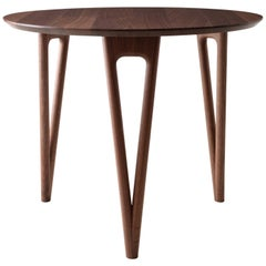 Hair Pin Table 36, Round, Walnut Hardwood, Dining, Center Table