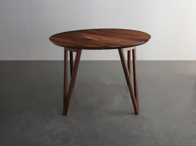 Modern Hair Pin Table 42, Round, Walnut Hardwood, Dining, Center Table For Sale