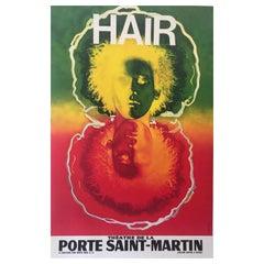 Hair Theatre De La Porte Saint-Martin Original Vintage Poster, Circa 1960