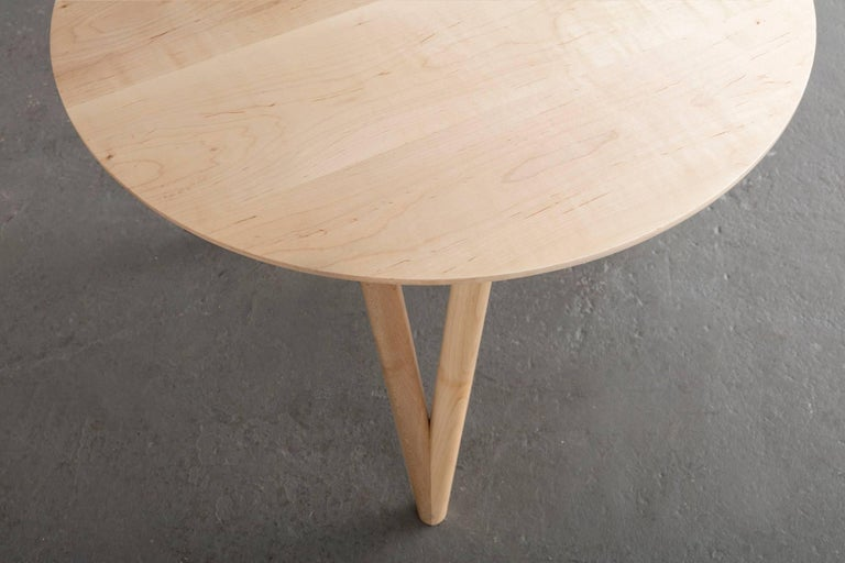 American Hair Pin End Table, Round Maple Hardwood For Sale