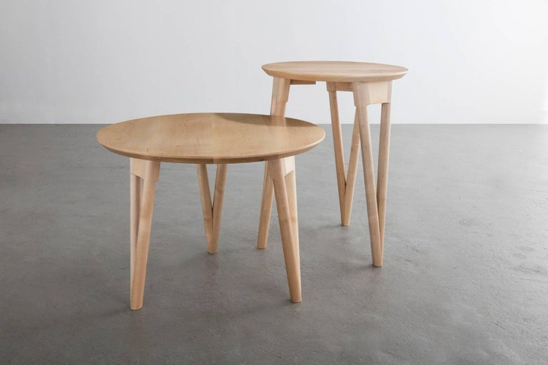 Hand-Crafted Hair Pin End Table, Round Maple Hardwood For Sale