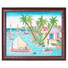Haitian Acrylic Painting on Board by Sorel