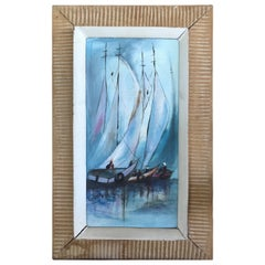 Haitian Art Sailboats Painting Signed and Dated 1971 in Original Carved Frame