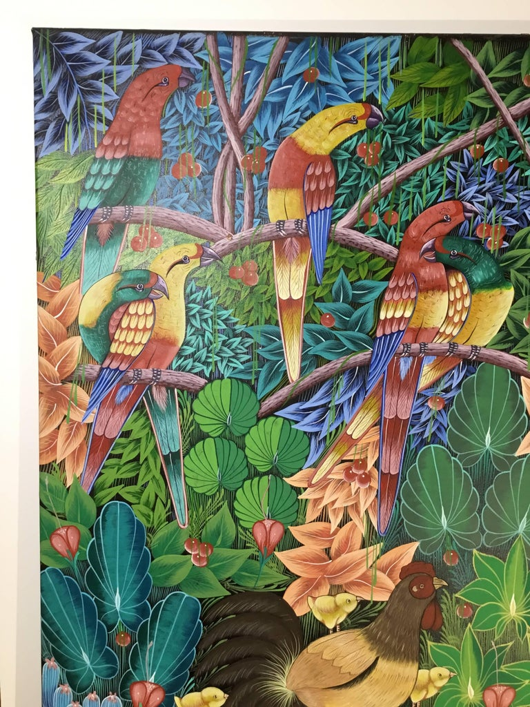 Haitian Oil Painting on Canvas In Excellent Condition For Sale In Delray Beach, FL