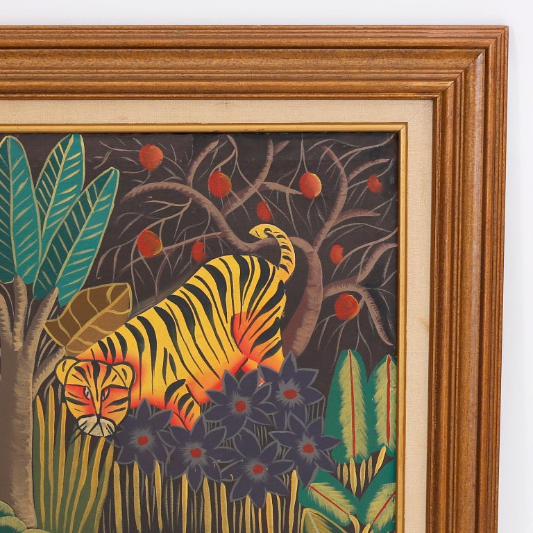 Folk Art Haitian Oil Painting on Canvas with Tigers For Sale