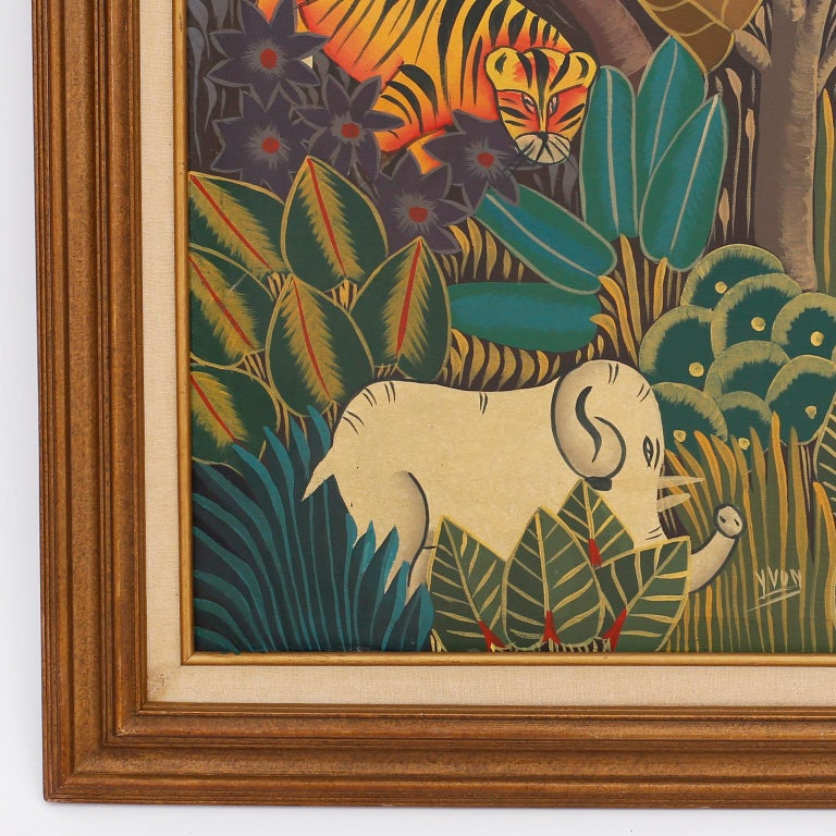 Haitian Oil Painting on Canvas with Tigers In Good Condition For Sale In Palm Beach, FL