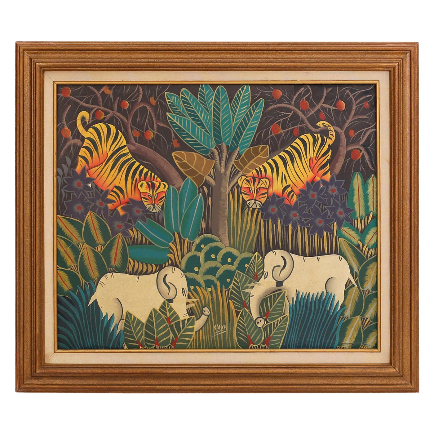 Haitian Oil Painting on Canvas with Tigers