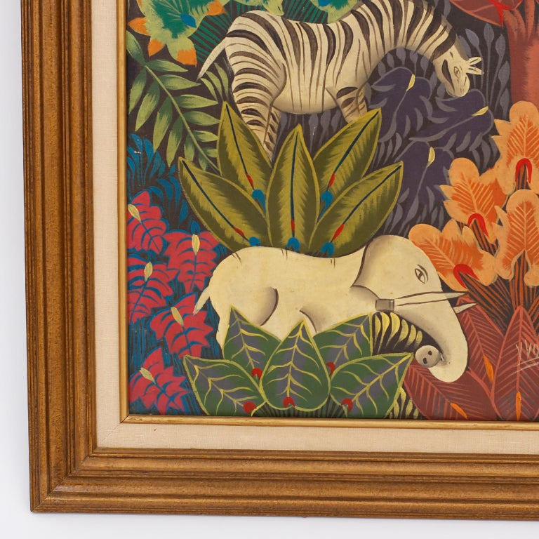 Haitian Oil Painting on Canvas with Zebras In Good Condition For Sale In Palm Beach, FL