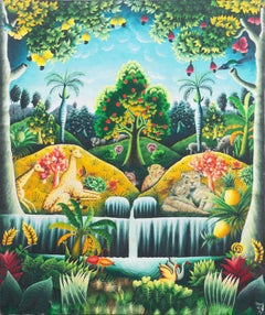 'Garden of Eden', Idyllic Haitian Folk Art, Arcadian, Paradise, Giraffe, Leopard