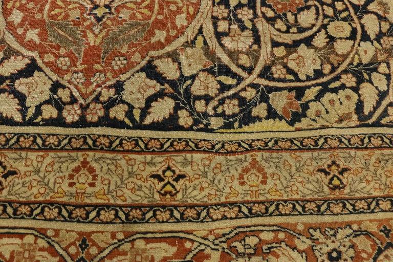 19th Century Haji Jalili Antique Persian Tabriz Rug with Art Nouveau Style For Sale