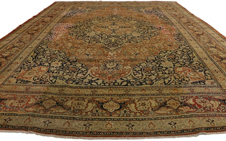 Haji Jalili Antique Persian Tabriz Rug with Art Nouveau Style In Good Condition For Sale In Dallas, TX