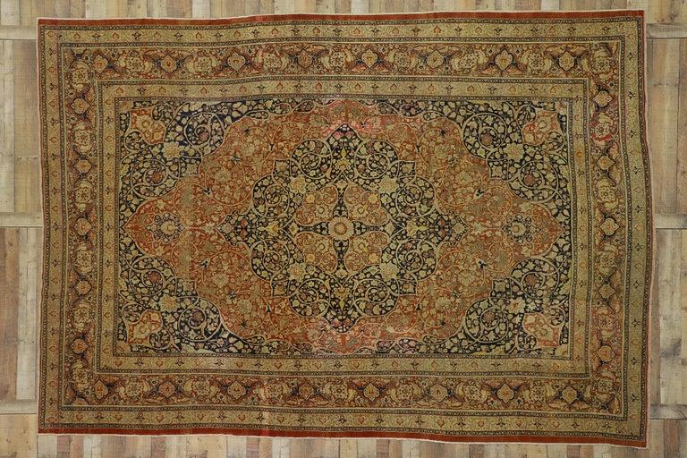 Haji Jalili Antique Persian Tabriz Rug with Art Nouveau Style For Sale 3