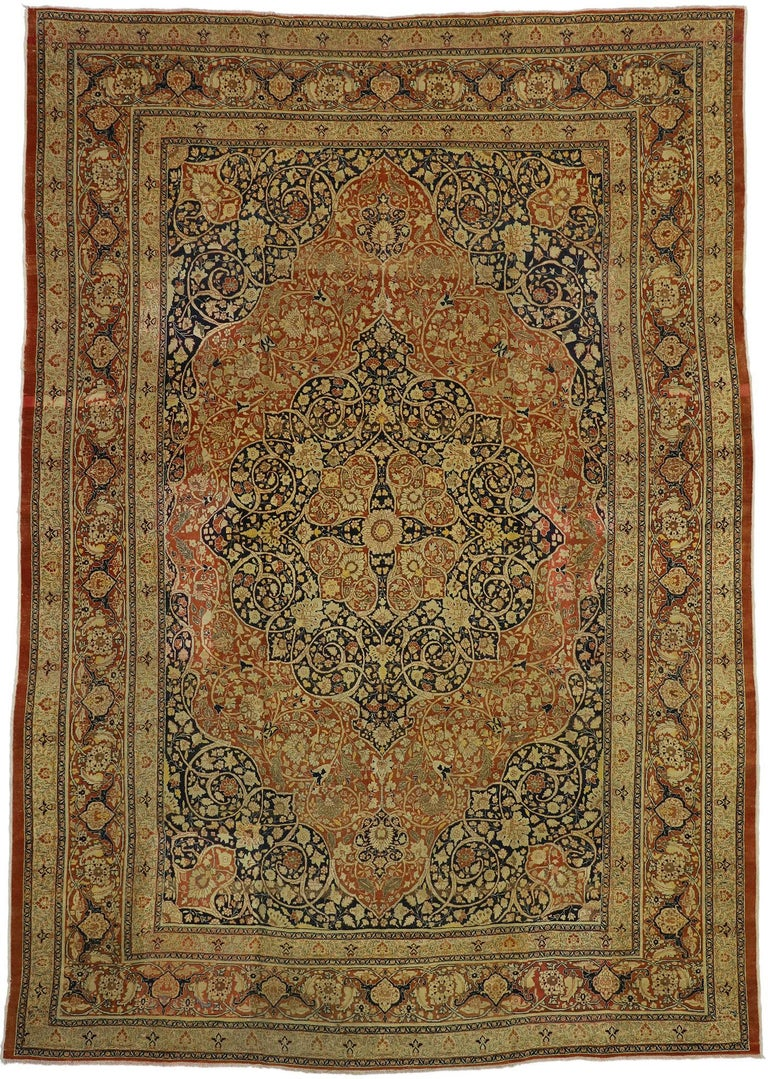 73130 Haji Jalili Antique Persian Tabriz Rug with Art Nouveau Style. This majestic and classically composed Haji Jalili Antique Persian Tabriz Rug with Art Nouveau Style was made in Iran in the late 19th century, circa 1880. It features an ornate