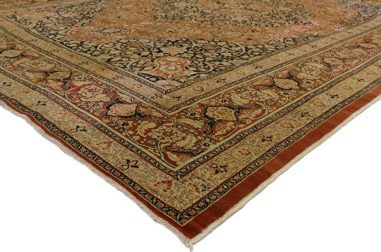 Hand-Knotted Haji Jalili Antique Persian Tabriz Rug with Art Nouveau Style For Sale