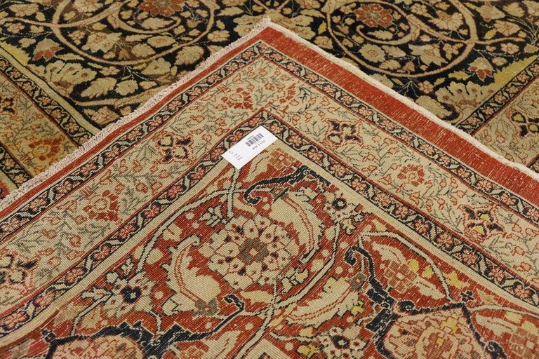 Wool Haji Jalili Antique Persian Tabriz Rug with Art Nouveau Style For Sale