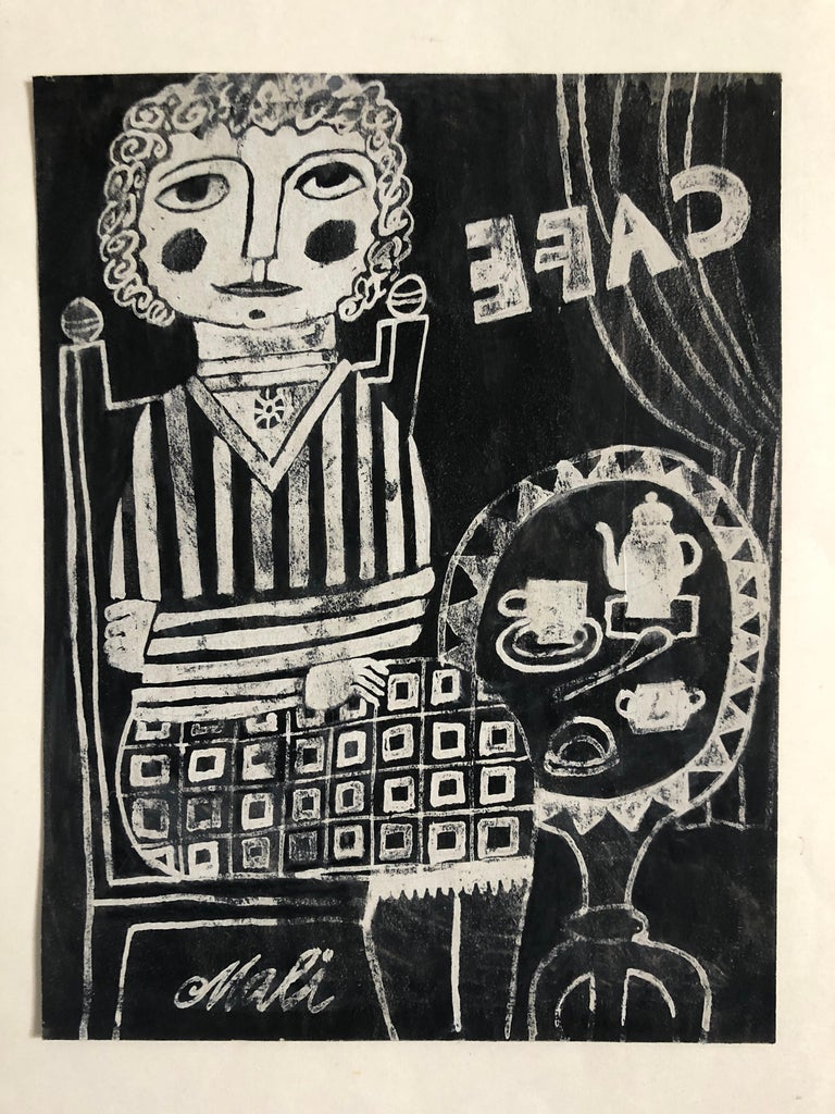 17.75x13.75 mount size, 10x7.75 image size. woodblock (linocut?) relief print, mounted to paper German outsider Naive artist born in 1922. has exhibited in Germany in 1969 worked in painting, gouache and linocuts. Expressionist Folk Art style.   Art