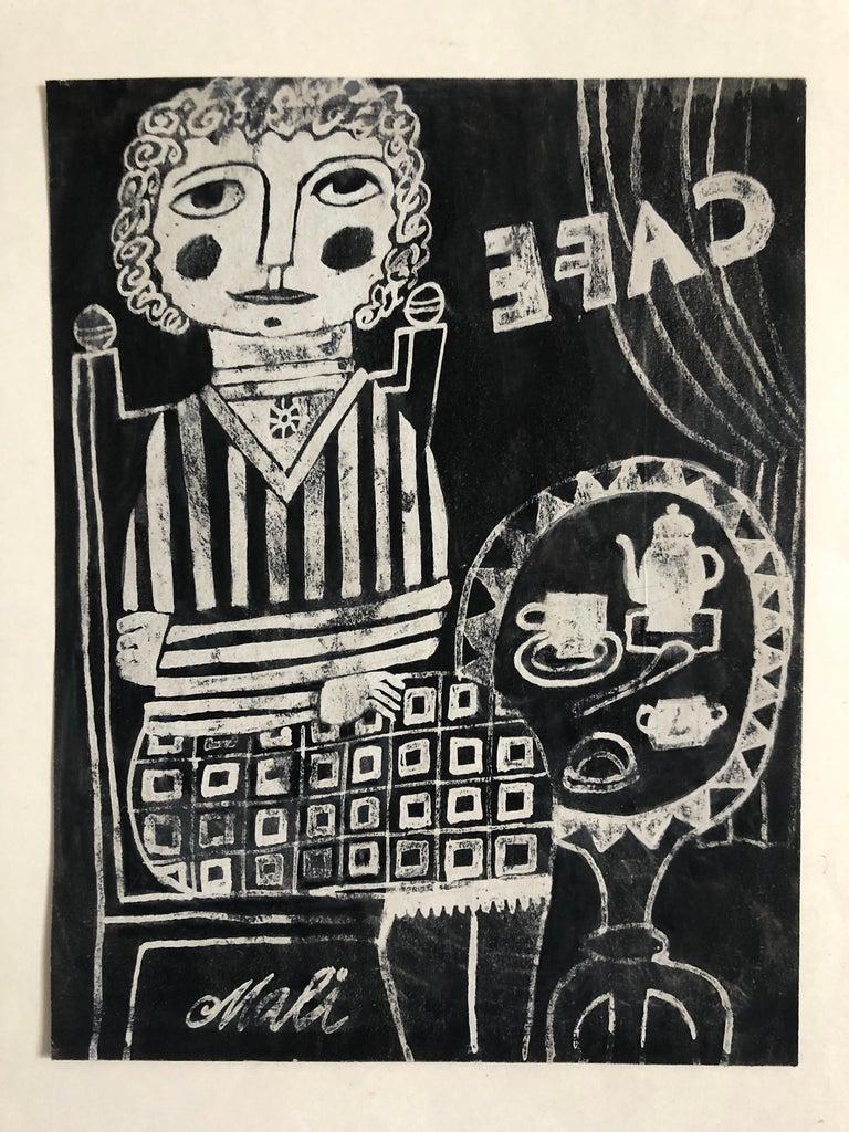 Hajo Malek Interior Print -  German Outsider Folk Art Naive CAFE Woodcut Woodblock Print