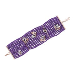 H.Ajoomal Bracelet in Amethyst Beads with Diamond & Gold Butterflies Yellow Gold