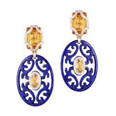 H.Ajoomal Diamonds, Lapis Lazuli & Golden Citrine Earrings, 18 Karat Yellow Gold