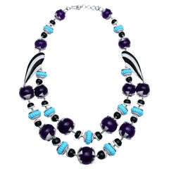 H.Ajoomal Double Line Necklace with Diamonds, Amethyst Beads, Turquoise & Enamel