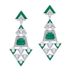 H.Ajoomal Earrings in Emerald Cabochons, Diamonds & Green Enamel in White Gold