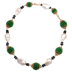 H.Ajoomal Emerald Beads Barouqe Pearls Necklace with Black Onyx & Diamond Rings