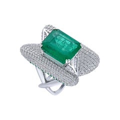 H.Ajoomal Emerald Cocktail Ring with Diamond & Baguette Sections & Emerald Pave