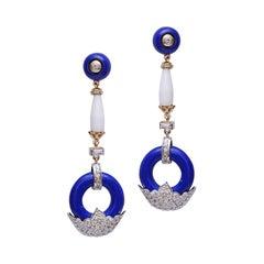 H.Ajoomal Lapis Lazuli White Agate & Diamond Pave Earrings in Yellow White Gold