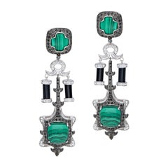 H.Ajoomal Malachite Cabochon, Black Onyx Earrings with Black and White Diamonds