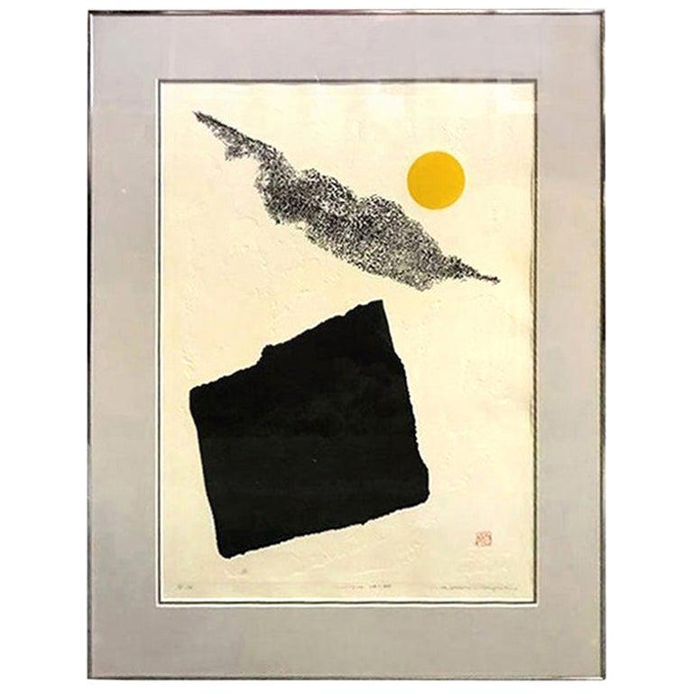 Haku Maki Large Embossed Limited Edition Japanese Woodblock Print Work 74-44 For Sale