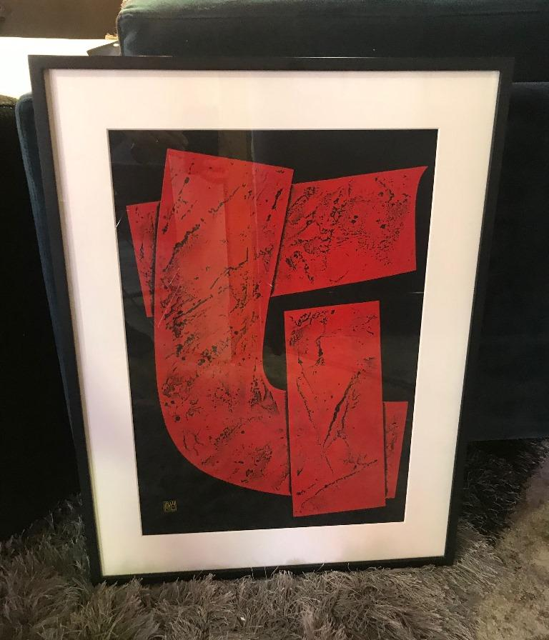 Haku Maki Signed Large Embossed Limited Edition Woodblock Print Work 74-64 Woman In Good Condition For Sale In Studio City, CA