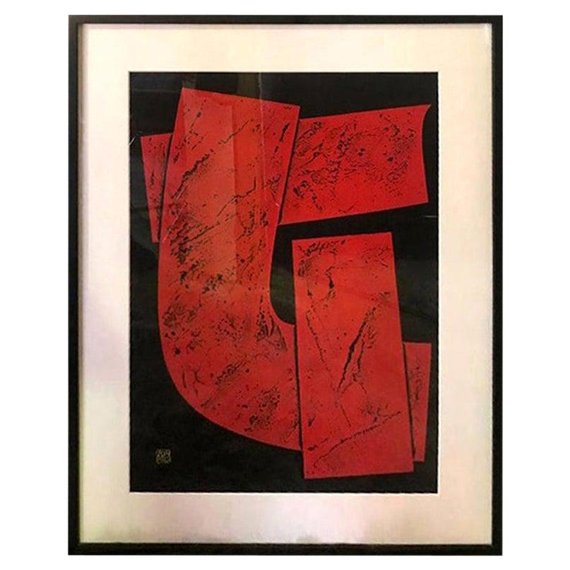 Haku Maki Signed Large Embossed Limited Edition Woodblock Print Work 74-64 Woman