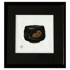 Haku Maki Set of Four-Color Woodblock Prints, Japanese Tea Bowls