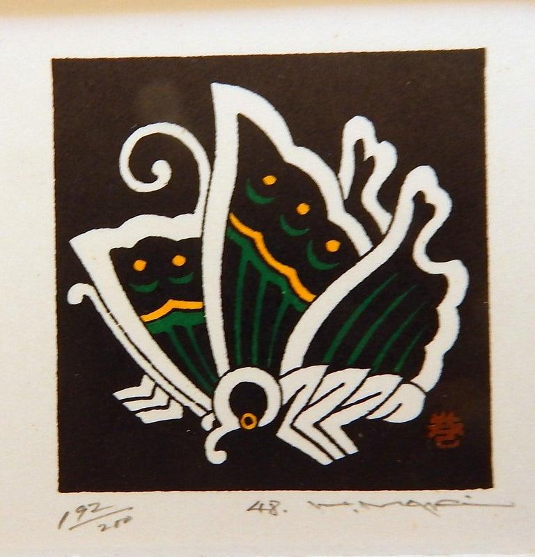 Haku Maki Set of Twelve Miniature Color Woodblock Prints in Cloth Case For Sale 5