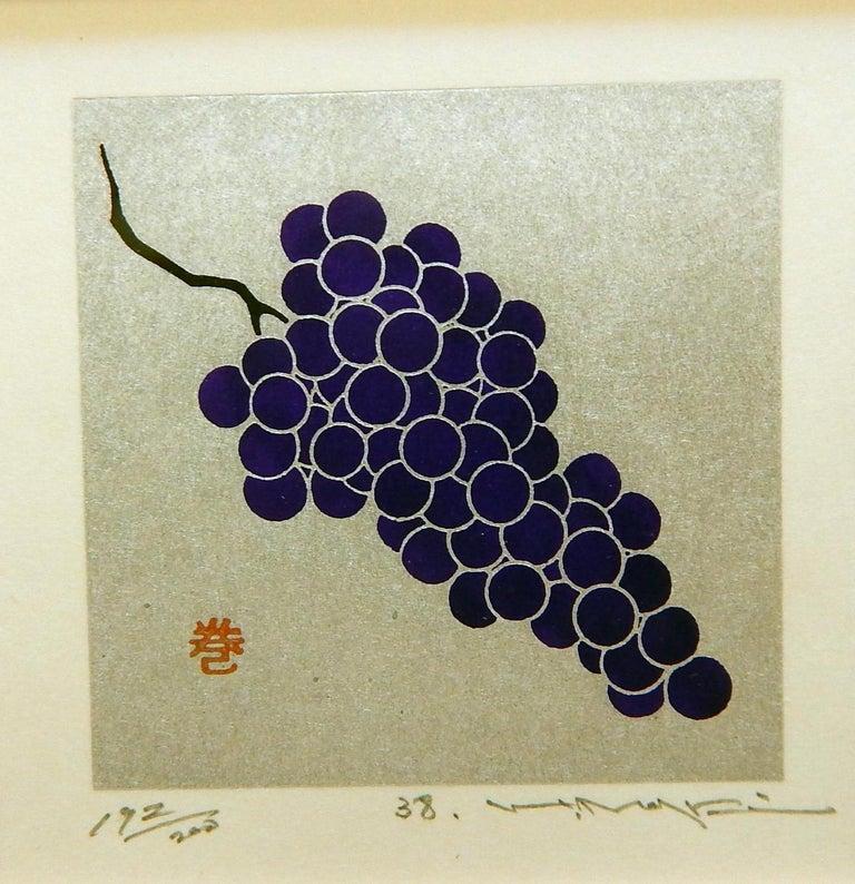 Haku Maki Set of Twelve Miniature Color Woodblock Prints in Cloth Case For Sale 13