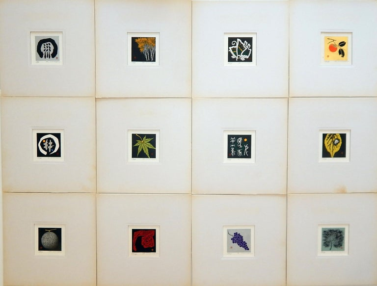 A portfolio of 12 miniature woodblock prints by Japanese artist Haku Maki (1924-2000).