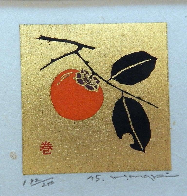 Haku Maki Set of Twelve Miniature Color Woodblock Prints in Cloth Case For Sale 4