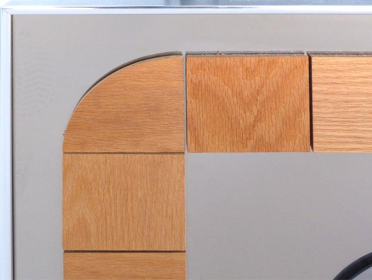 Mid-Century Modern Hal Bienenfeld Geometric Op Art Decorative Mirrored Wall Sculpture For Sale