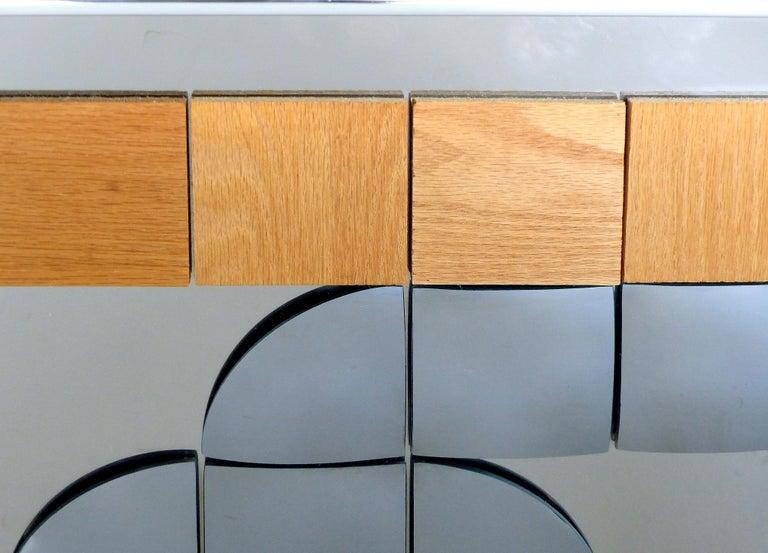 American Hal Bienenfeld Geometric Op Art Decorative Mirrored Wall Sculpture For Sale