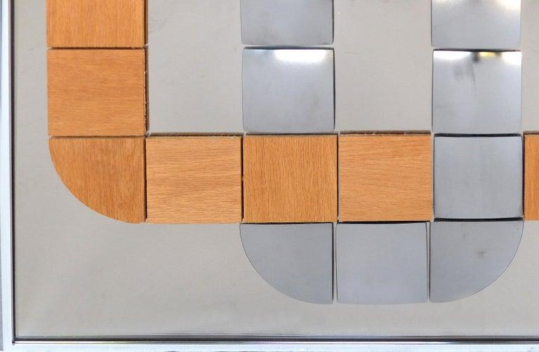 Hal Bienenfeld Geometric Op Art Decorative Mirrored Wall Sculpture For Sale 1
