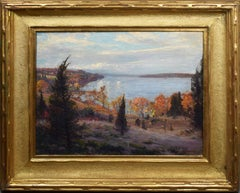 Antique American Large Impressionist Fall Hudson River View Original Painting