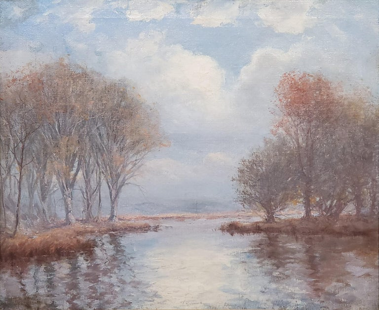 River Landscape On A Cloudy Day an Oil Painting Signed by Hal Robinson For Sale 1