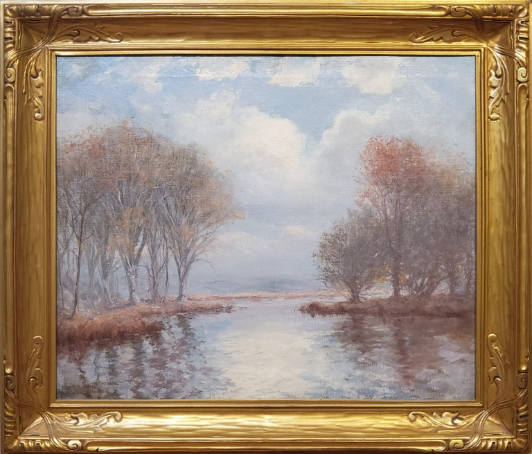 """River Landscape On A Cloudy Day an Oil Painting Signed by Hal Robinson  Oil on canvas, signed lower left by Hal Robinson, American 1875-1933. 25"""" x 30"""" and approximately 32"""" x 37"""" in the reproduction frame.  Robinson (1875-1933) painted at Old Lyme"""