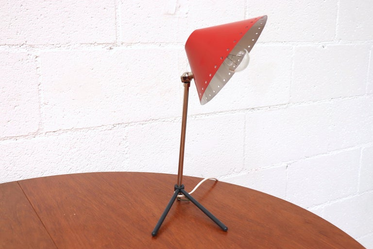 Dutch Hala Zeist Red Enameled Pinocchio Table or Wall Lamp For Sale