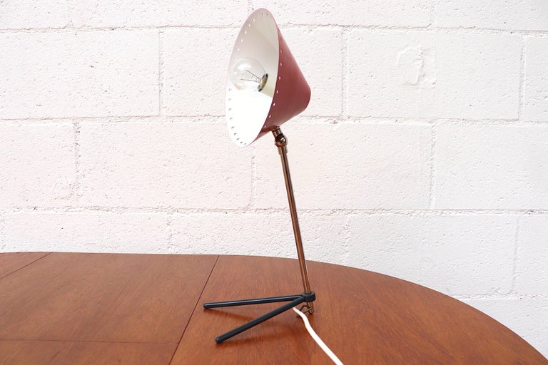 Hala Zeist Red Enameled Pinocchio Table or Wall Lamp In Good Condition For Sale In Los Angeles, CA