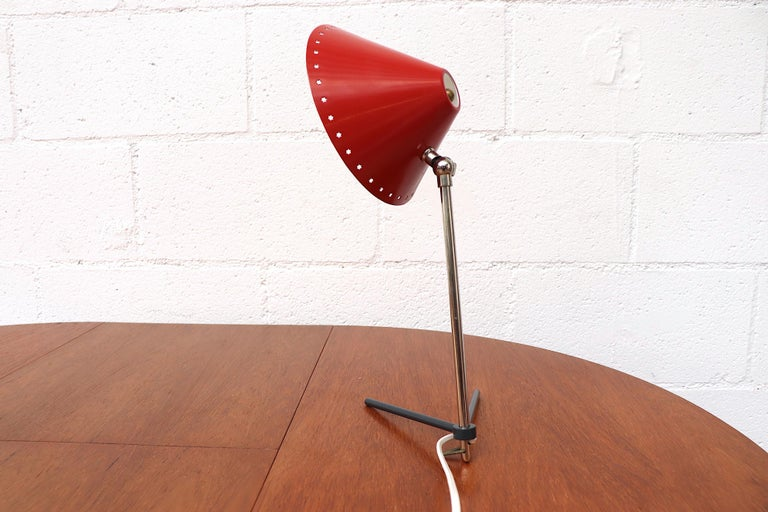Metal Hala Zeist Red Enameled Pinocchio Table or Wall Lamp For Sale