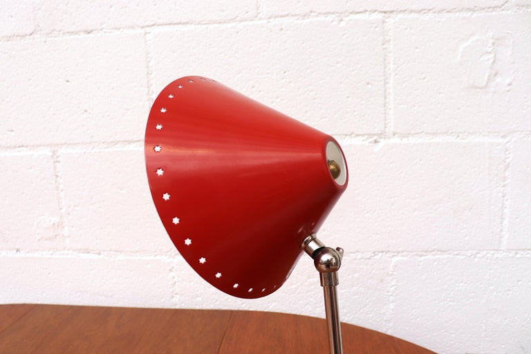 Hala Zeist Red Enameled Pinocchio Table or Wall Lamp For Sale 1
