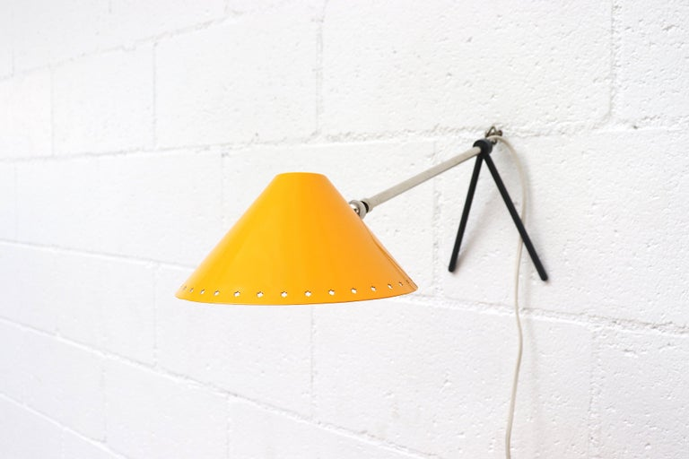Mid-Century Modern Hala Zeist Yellow Enameled Pinocchio Table or Wall Lamp For Sale