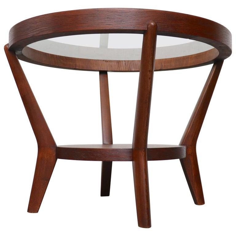 Halabala Style Round Side Table In Dark Wood