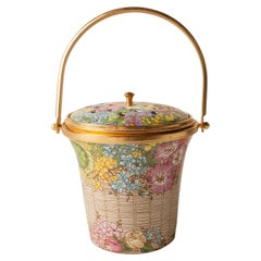 """Elizabethan"" Pattern Hand Decorated Potpourri Basket by Halcyon Days-Rare"